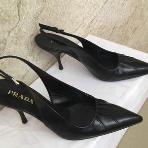Prada Leather slingback pointed toe